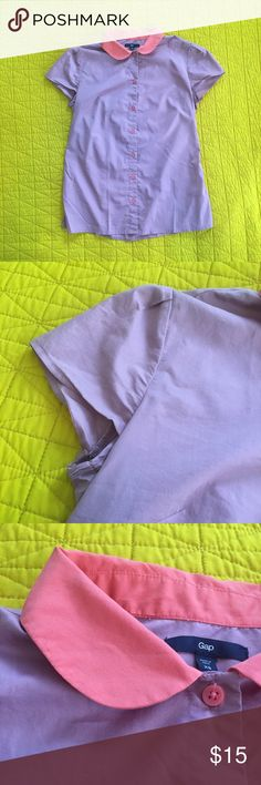 Retro Peter Pan Collar Button-Up Vintage inspired button up from Gap. Really cute almost retro diner vibe. Rounded collar, cap sleeves. Shirt is pastel purple with an electric melon/peach collar and buttons. 53% cotton/47% polyester for a nice bit of give. GAP Tops Button Down Shirts