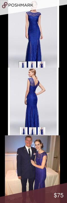 Beautiful David's Bridal formal floor-length gown Beautiful floor-length royal blue gown worn once for a military ball. Fits well, comfortable and elegant. Girl wearing it in ball photo is 5'11 and slim. David's Bridal Dresses Maxi