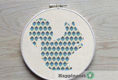 Cross stitch pattern PDF squirrel, blue, yellow, woodland, animal,  DIY ** instant download**