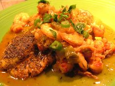Crawfish and Shrimp Etouffee over Bronzed Catfish