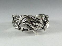 Sterling Silver Leaf and Twig Band Ring by DawnVertreesJewelry