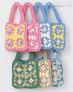 Cute cotton granny square bag is a fun and easy project. Approx. finished size 9
