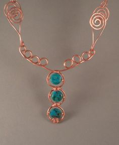 Bold Copper and Turquoise Necklace Handmade Chain. via Etsy.