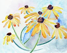 Flower Watercolor, Blue Yellow Wall art, Summer Decor, Watercolor Flowers, Flower art print, Summer Art,  flower painting