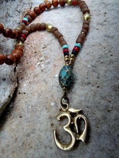 Ohm Necklace / Yoga Necklace / Mala Beads / Trade by Syrena56, $49.00