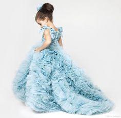 Cute Little Girl Dress Blue Ruffles Puffy Dresses Kids Evening Gowns Girls Prom Dress Children Vestidos De Comunion