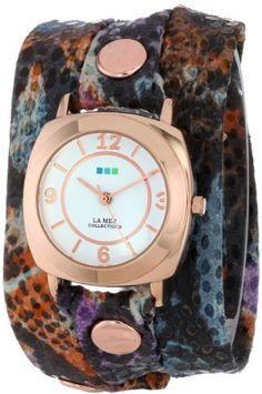 La Mer Collection's Women's LMODY5000 Purple Butterfly Print Wrap Watch