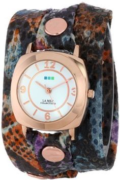 La Mer Collection's Women's LMODY5000 Purple Butterfly Print Wrap Watch