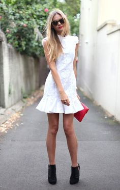 White Trumpet Dress. W Booties? Spring/Summer is looking good ❤️