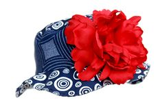 Navy Blue Sun Hat with Red Peony..so precious & necessary for a 4th of July party!
