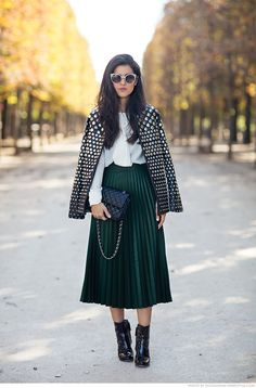 MIdi pleated skirt with ankle boots, bow shirt and jacket