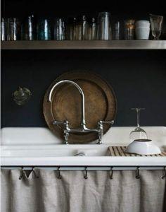 under sink, open shelves, black walls, dark walls, kitchen interior, design kitchen, kitchen sinks, kitchen designs, curtain