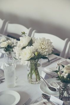 Zoe & Andrew Sydney Wedding at Manly Wine Suites, The Sebel   Flowers by Lime Tree Bower   table centrepieces with dahlias and ferns in glass vases, minimalist beach luxe theme