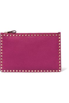 Valentino - The Rockstud Textured-leather Pouch - Pink - one size
