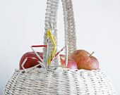 White, hand-woven basket.
