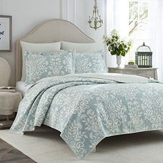 Laura Ashley Rowland Blue Quilt Set King Quilts Bedspreads Coverlets Bedding #LauraAshley