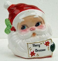 Vintage Santa Claus Head Figurine Napkin Holder Merry Christmas Retro Kitsch by RetroCentsStudio on Etsy