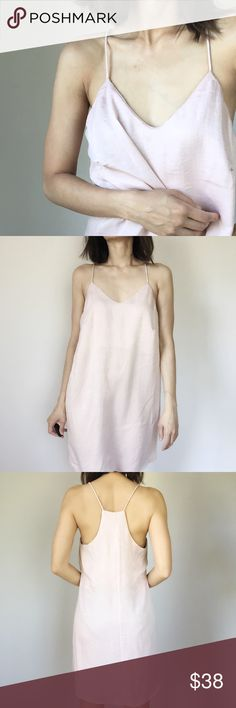 """Adriana blush silky like slip dress. Celebrity style, quality blush slip dress. Racer back. Simple the easiest thing to put on and look oh so sexy. Made in USA. I am wearing size s.  Size s : bust 36"""", length 35"""". Size M: 37"""", length 35"""". Size L bust 38"""" , length 36"""". 100%polyblend. CHICBOMB Dresses Mini"""