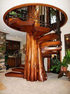 Wooden spiral stairs.