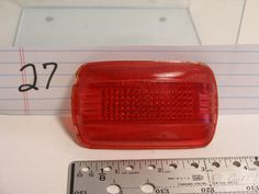 "Vintage Auto Red 365 Tail Light Lens 3-5/8"" X 2-1/4"" x 7/8"""