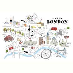 Map of London Kunsttryk Pubs In London, London Map, Paris Map, London Pride, London City, London Decor, London England, London Travel Guide, Plan Ville
