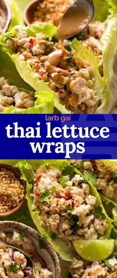 Thai Lettuce Wraps (Larb Gai) are a fast, fabulous, light meal that is full of fresh flavours! The sort of dish that's so good, you forget how healthy it is. Healthy Thai Recipes, Healthy Foods To Eat, Asian Recipes, Healthy Eating, Ethnic Recipes, Clean Eating, Minced Meat Recipe, Minced Chicken Recipes, Pork Recipes