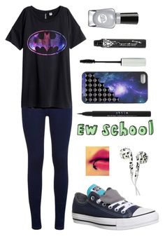 """""""Untitled #2440"""" by picky-picky ❤ liked on Polyvore featuring H&M, Converse, Stila and Sally Hansen"""