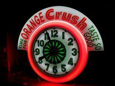 Orange Crush Soda Neon Clock Vintage Advertisements, Ads, Neon Clock, Vintage Clocks, Soda Fountain, Dr Pepper, Orange Crush, Coca Cola, Abandoned