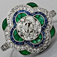 Engagement Ring European-cut Diamond Antique Art Deco Style