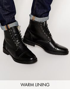 ASOS BRAND ASOS Boots in Black Leather with Fleece Lining