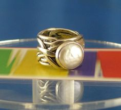 """Sz 6 Wedding Style Band Ring: Sterling Unique Mop Silpada """"Mermaid Ring"""""""