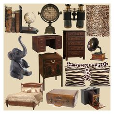 """Vintage Safari Bedroom"" by jinx13a ❤ liked on Polyvore featuring interior, interiors, interior design, home, home decor, interior decorating, Adrienne Landau, Samsonite, DutchCrafters and Dot & Bo"