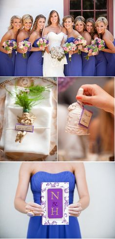 What color are the bridesmaids dresses? Looks like a mix between purple and blue. #donnamorganengaged