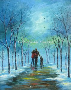 Winter Walk With Mom and Dad is an original 20 X 24 oil painting of mine painted on gallery wrapped canvas. The .8 edges are painted to match