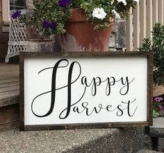 Happy Harvest Sign by theboardroompdx on Etsy https://www.etsy.com/listing/542189266/happy-harvest-sign
