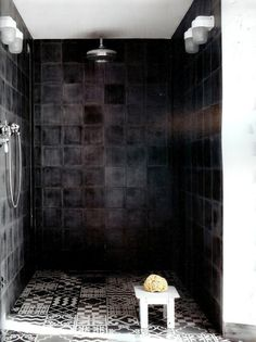 25 Dramatic, Bold, Confident & SEXY BLACK ROOMS...I would do black however; I would use subway tile.