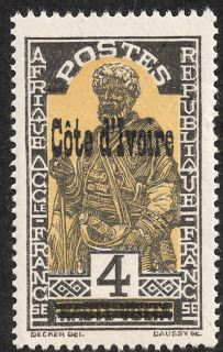 Ivory Coast ( Côte d'Ivoire )  1933 Scott 97 4c black & yellow Overprinted on Upper Volta, 1928