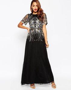 ASOS RED CARPET Gold And Black Sparkle Embellished Mesh Maxi Dress UK 10/US 6