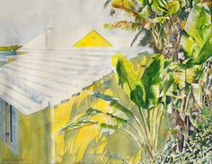 "midstir jostle of palms harbour rd 18"" x 22"" micheal zarowsky / watercolour on arches paper / (private collection)"