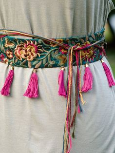 Jagger Embroidered Dark Teal Silk Boho Belt with Tassels and Boho Gypsy, Bohemian Style, Boho Chic, Diy Bordados, Mode Mori, Couture, Fashion Bubbles, Dark Teal, Mode Inspiration