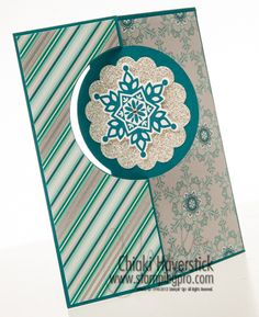 : Winter Frost Festive Flurry another good one for nursing home class. Put greeting on reverse Circle. Snowflake Cards, Snowflakes, Card Crafts, Paper Crafts, Holiday Cards, Christmas Cards, Christmas Messages, Flip Cards, Stampin Up Christmas
