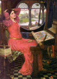 """""""The Lady of Shalott is based on the story of Elaine who in other stories was the unloved wife of Lancelot and the mother of Galahad. She is also called the Donna di Scalotta which was the Italian memory of her name Scota or Scotia. She is also remembered as Elaine of Astolat or Ascolat as well as Elaine of Corbenic, Elaine the White and Elaine the Fair. She is also associated with the Lady of the Lake in some legends and in others she is called the Grail Maiden or Grail bearer."""""""