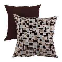 """Pillow Perfect 'Pebbles' Flocked Throw Pillow    Dimensions: 18"""" x 18""""    These accent pillows will work with the beige couch and dark brown coffee tables."""