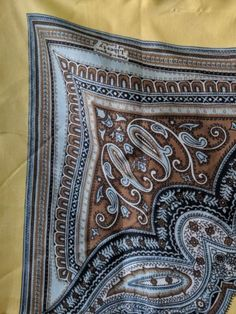 Liberty-of-London-Silk-scarf-Paisley-yellow-brown-taupe-minor-flaws-SHIPS-FREE