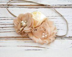 Shabby Chic diadema diadema de flores de Gasa de Triple