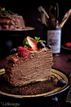 Martha Stewart's Crepe Cake, Crepe Cake with Blackberry Schnapps Chocolate Mousse, How to assemble a crepe cake, Worlds best crepe cake batter, How to make the perfect crepe batter?,cake filling with chocolate mousse