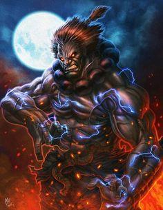 Street Fighter - Akuma Tribute Created by Allen Geneta Akuma Street Fighter, Street Fighter Characters, Super Street Fighter, Street Fighter Wallpaper, Marvel Tribute, Mortal Kombat Art, World Of Warriors, Street Fights, Fantasy Dragon