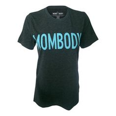 MOMBODY™ Signature Logo T-shirt in Charcoal and STRONG Blue