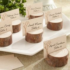 Lugares en la Mesa / Place Settings Rustic Real Wood Place Card / Photo Holders - little details for your rustic wedding