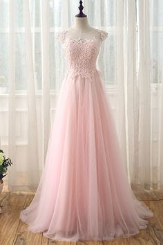 Pink tulle long lace prom dress, see through back long evening dress